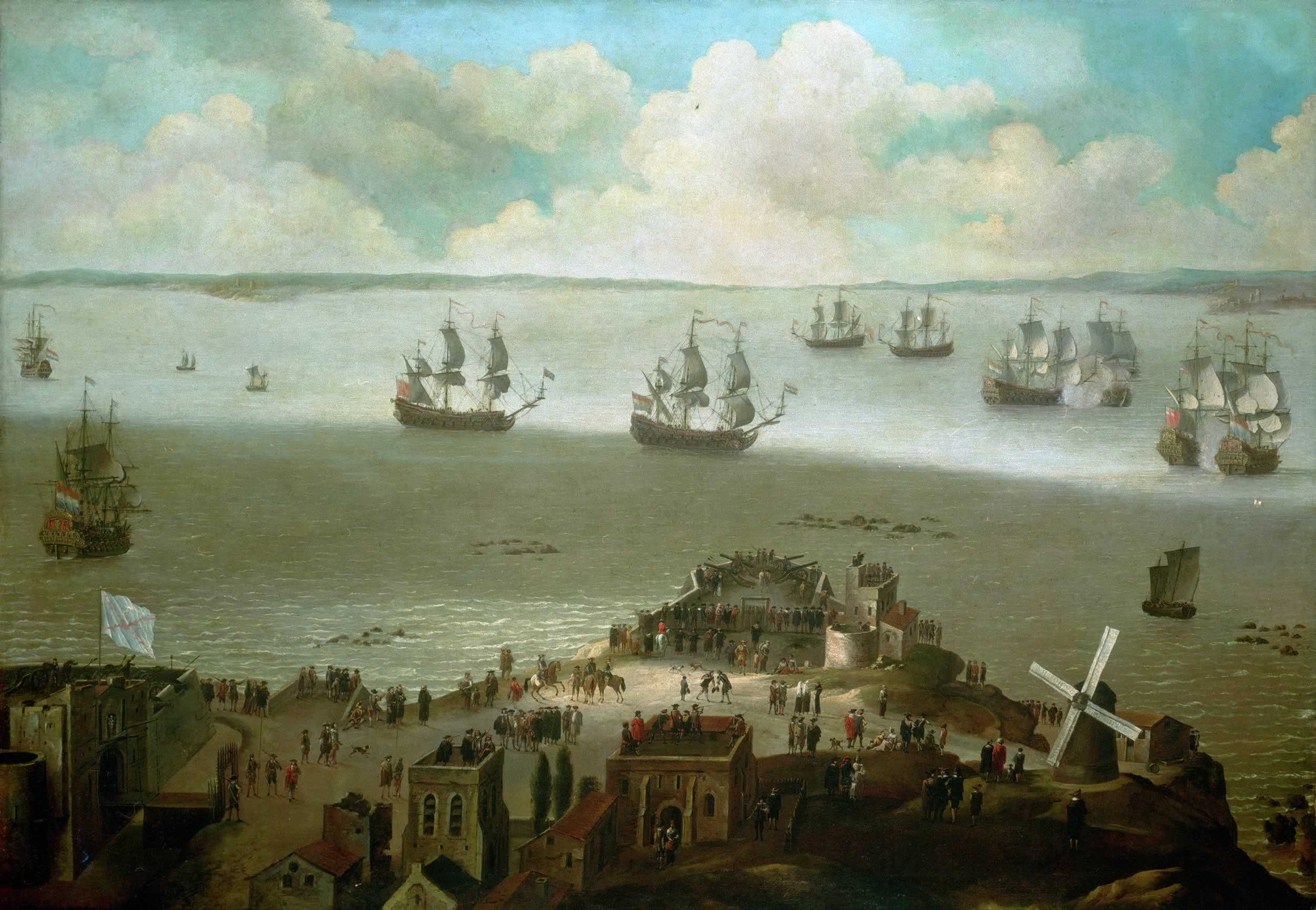 HMS_'Tiger'_taking_the_'Schakerloo'_in_the_harbour_of_Cadiz,_23_February_1674
